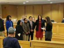 Michelle Crowe-Paz being sworn in as Mahwah's newest councilwoman.